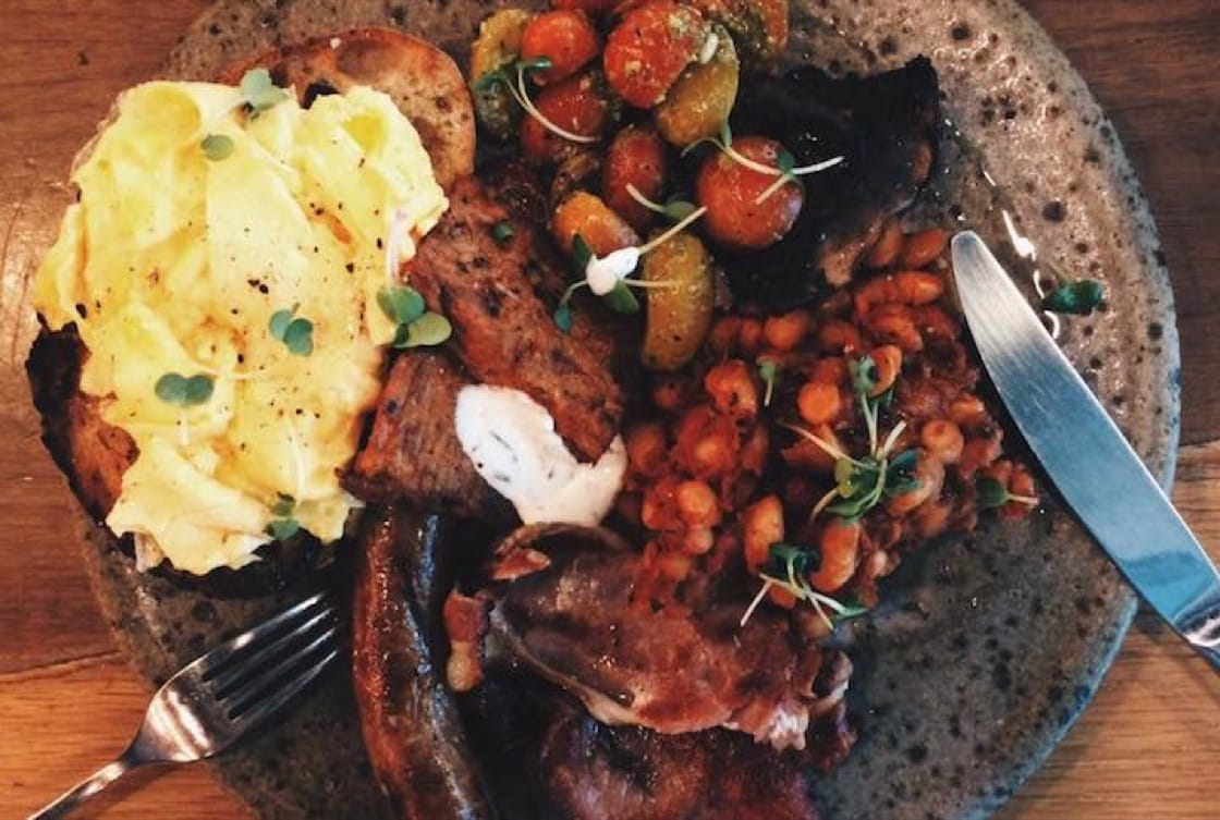 Chef Kirk Westaway has his fix of English breakfast at Common Man Coffee Roasters. (Photo: Facebook)