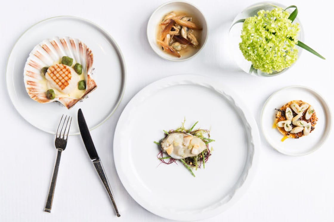 Gagnaire is known for his style of presenting each course as several small plates. (Photo courtesy of Mandarin Oriental Hong Kong.)