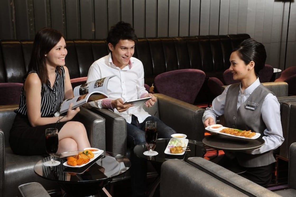 Forget popcorn, pamper mum with a multi-course meal while watching a movie in the cinemas. (Photo: Cathay Cineplex)