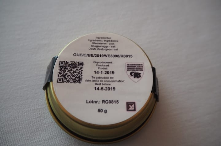 The CITES code, which is printed on the underside of caviar tins, provides a lot of information on the provenance of the caviar. (Photo: Kenneth Goh)