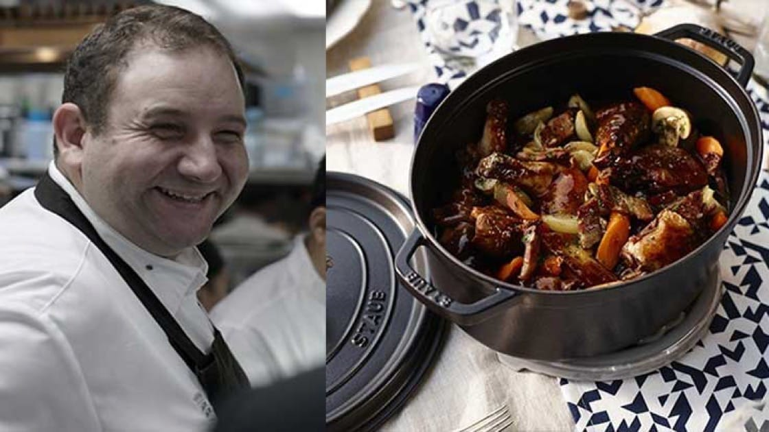 Chef Arnaud Dunand-Sauthier of Le Normandie. Cocotte photo source: Staub.