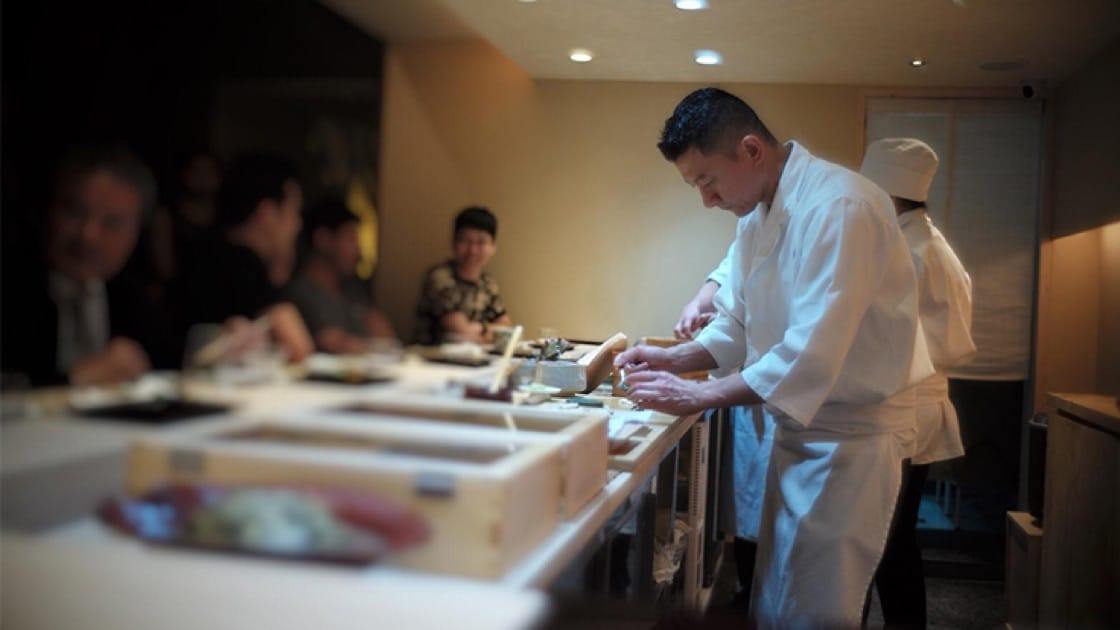 Masato Shimizu makes art at his 10-seater chef's table. Photo courtesy of Sushi Masato.