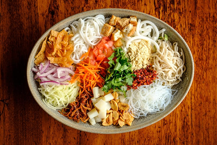 The rainbow salad at Burma Superstar features 22 ingredients, including four different types of noodles.