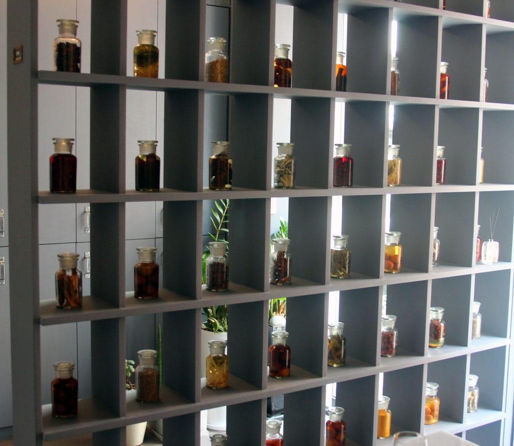 A display of house-made vinegars at Joo-ok