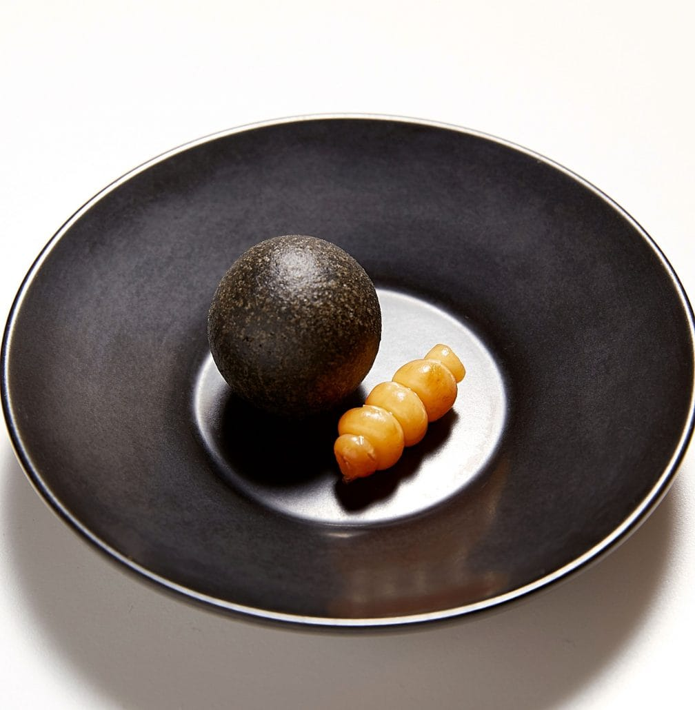 Boudin noir, pickled Chinese artichoke tuber