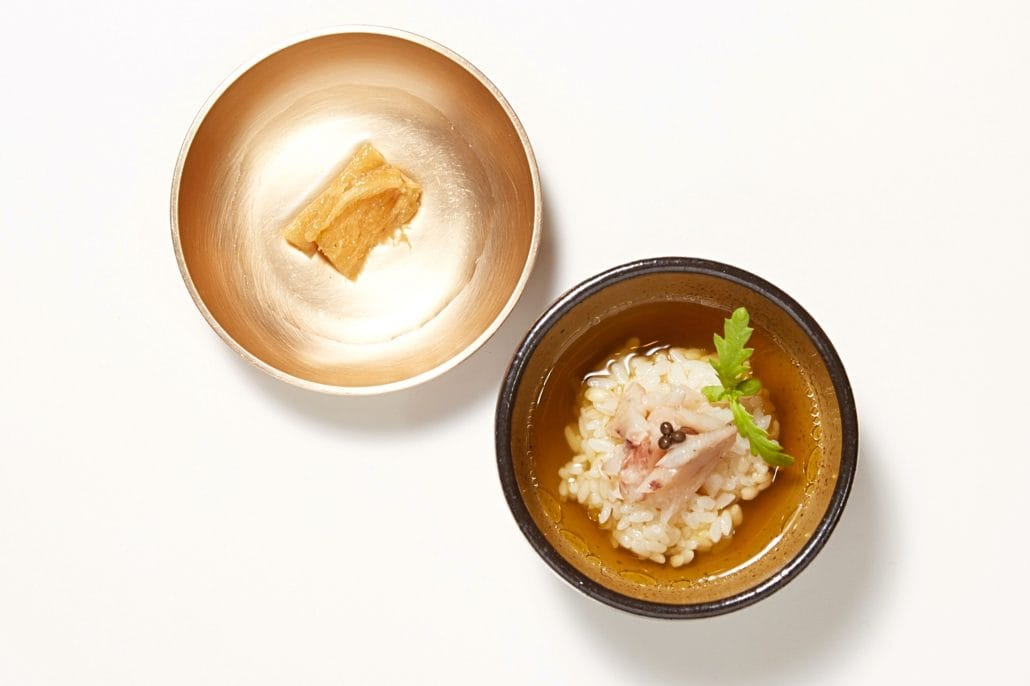 Ochazuke, salted and dried yellow corvina, katsuobushi, Jingkwang tea, pickled deodeok (lance asiabell roots), pickled sancho (Korean peppercorns)