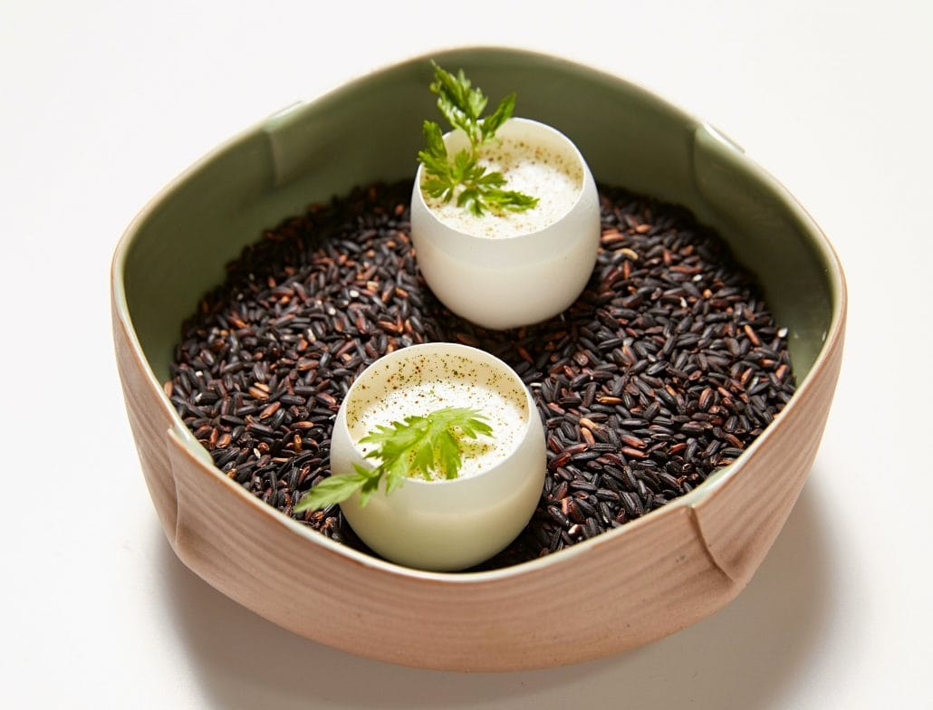 Steamed egg custard with spring herbs, a signature amuse-bouche by Chef Kang Min-goo