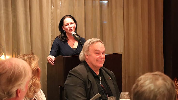 Lisa Perrotti-Brown making remarks at Robert M. Parker, Jr.'s 40th anniversary salon dinner at two-MICHELIN-starred Daniel restaurant in New York City. (Photo by Aaron Hutcherson.)