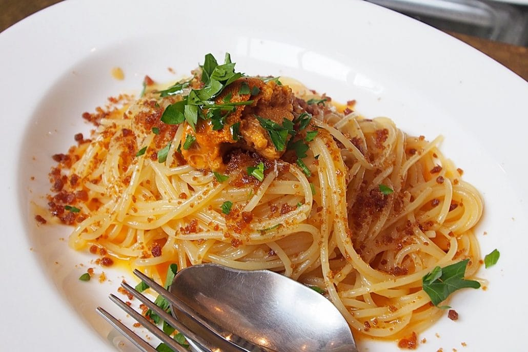 Spaghetti with sea urchin and eoran (cured mullet roe)
