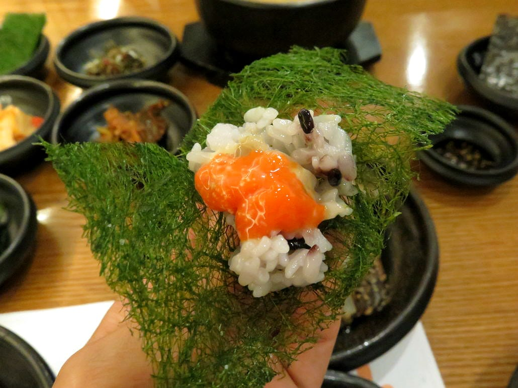 Rice and crab roe wrapped in toasted seaweed