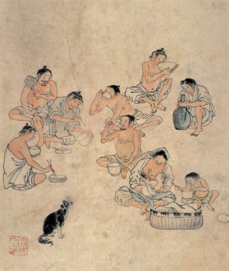 'Saecham' by Joseon period artist Kim Hong-do depicts farmers enjoying a light snack and drinking makgeolli in the fields