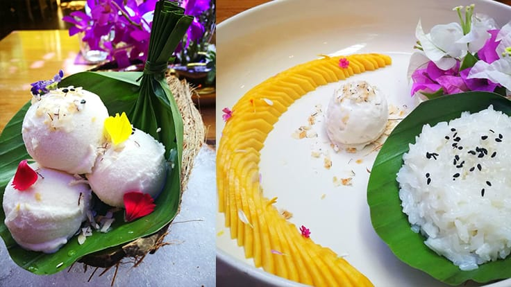 Left: Chim by Siam Wisdom's coconut milk ice cream with floral decoration. <br>Right: Coconut milk ice cream with mango and sticky rice at Chim by Siam Wisdom (One MICHELIN Star).