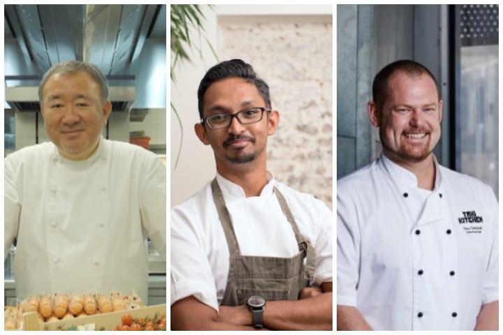 Chef Rishi Naleendra's (centre) mentors include Tetsuya Wakuda (left) And Tony Twitchett (right).