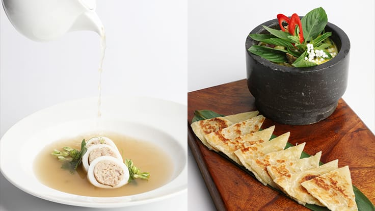 Left: Squid with stuffed pork in clear soup<br>Right: Bangkok roti<br>Photo source: Osha's website