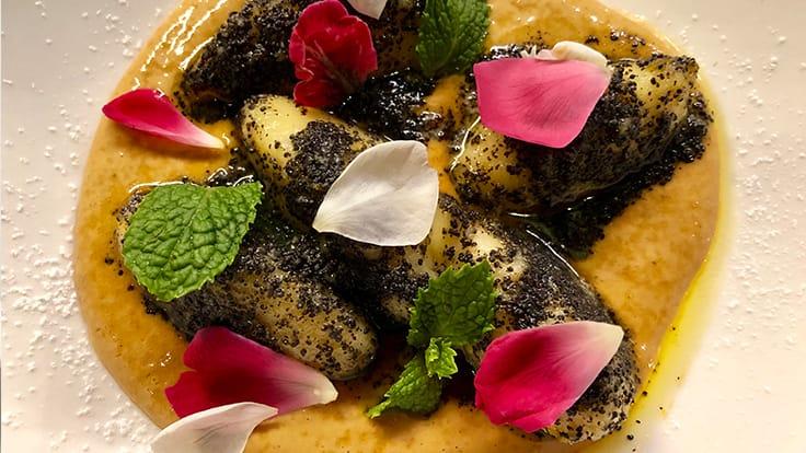 Poppy seeds and yoghurt dumplings with Thai tea custard. Photo courtesy of Suay.