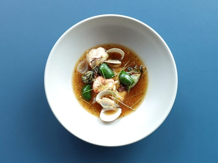 The Shellfish, Oxtail Soup, Chia Seed dish combines gooseneck barnacles from Penghu and the west coast with Chinese angelica oxtail soup.