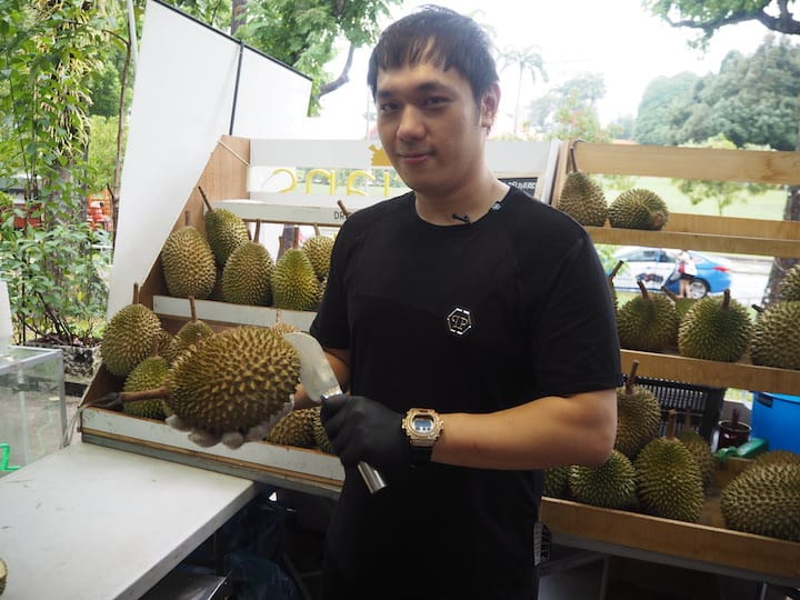 Charles Phua, managing director of Dr Durian, brings in about six varieties of durians, from D13 to Mao Shan Wang. (Photo: Kenneth Goh)