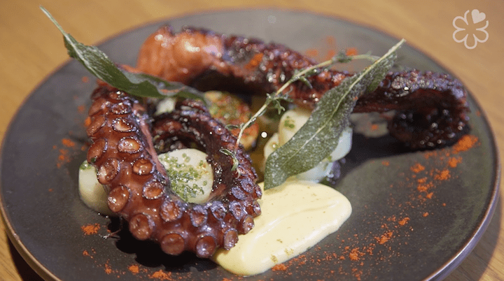 One of the signature dishes on Tokyo's Adrift menu is the grilled octopus, which is sous vide with wine and herbs for eight hours, grilled and finished with olive oil, crushed garlic and thyme on a pan.