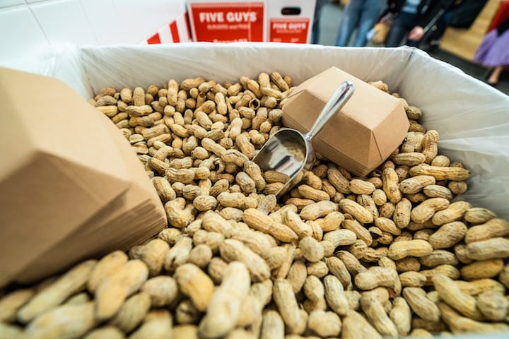 A Five Guys trademark, diners can help themselves to a free flow of peanuts. (Photo: Five Guys)