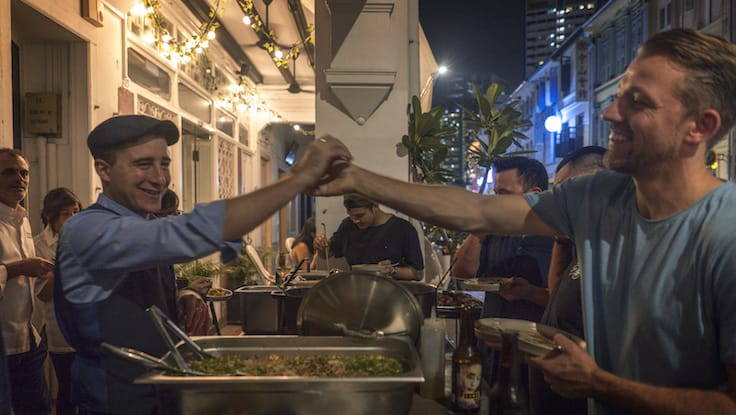 F&B operators in the Keong Saik neighbourhood gather over supper to talk about food waste issues (Pic: CURE)