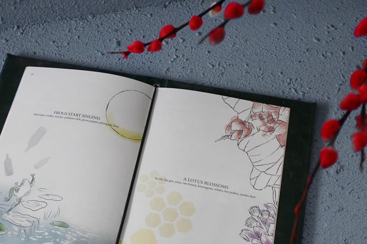Duddell's 的雞尾酒餐單,加入日本詩歌和主要食材插圖。(圖片:Thirty30 Creative)
