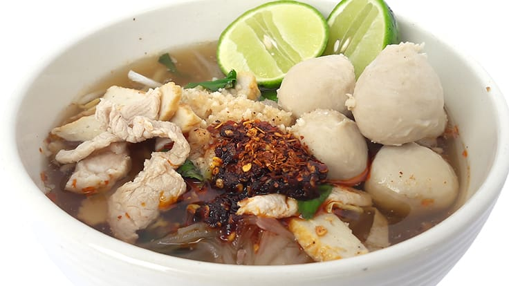 <i>Kuay Tiew Mu Tom Yum</i> or hot and sour noodles soup with pork.