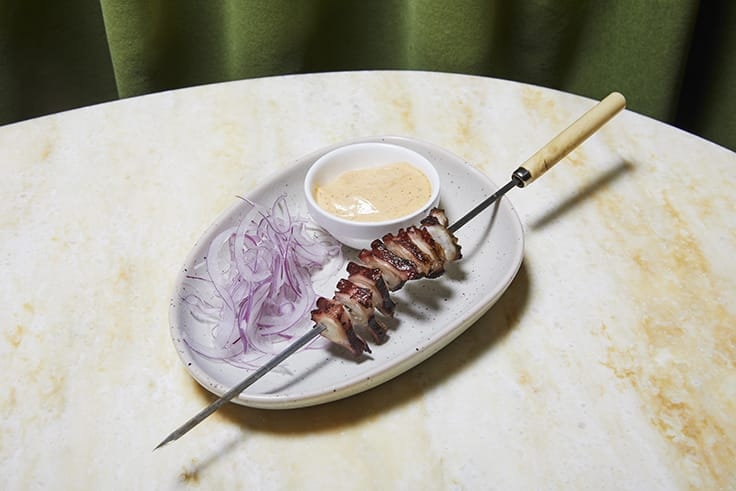 The octopus kebab.