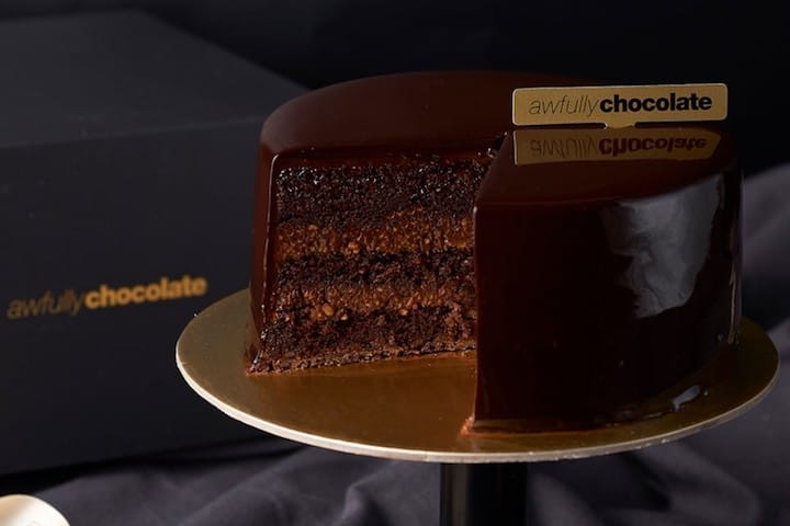 The All Chocolate Cake is one of Awfully Chocolate's top-selling cakes. (Photo: Awfully Chocolate FB Page)