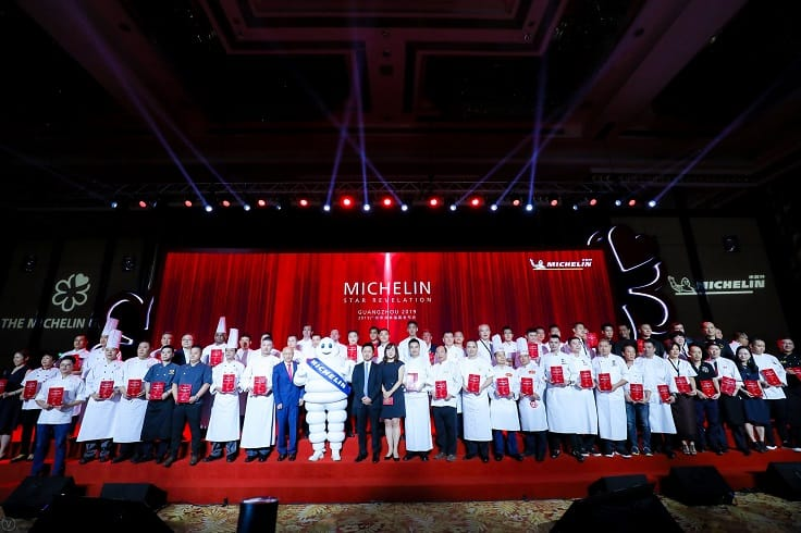 第二屆《米芝蓮指南廣州》所有得獎代表合影。(圖片:米芝蓮中國)