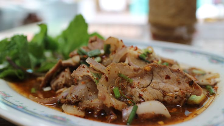 <i>Namtok Nua</i> (sliced grilled beef mixed with Thai spicy sauce).