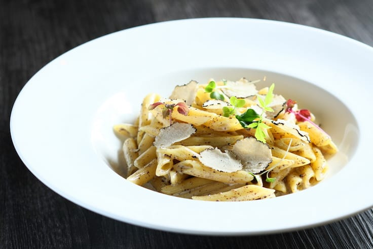 Penne with black truffle, cream sauce and parmesan cheese