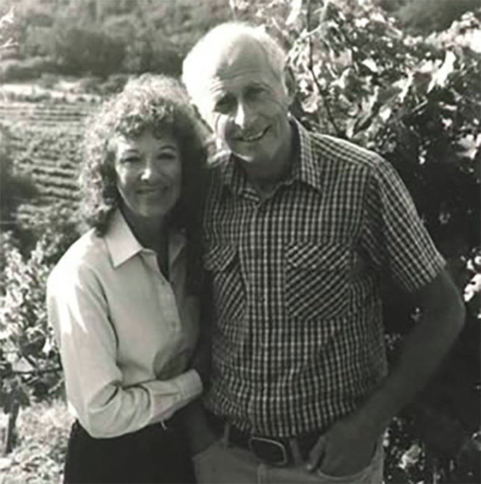 Boots and Al Bronstein circa 1980. (Photo courtesy of Diamond Creek Vineyards.)