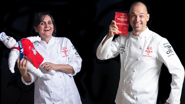 Chefs Garima Arora and Jimmy Ophorst having some fun at the MICHELIN Star Revelation 2019.