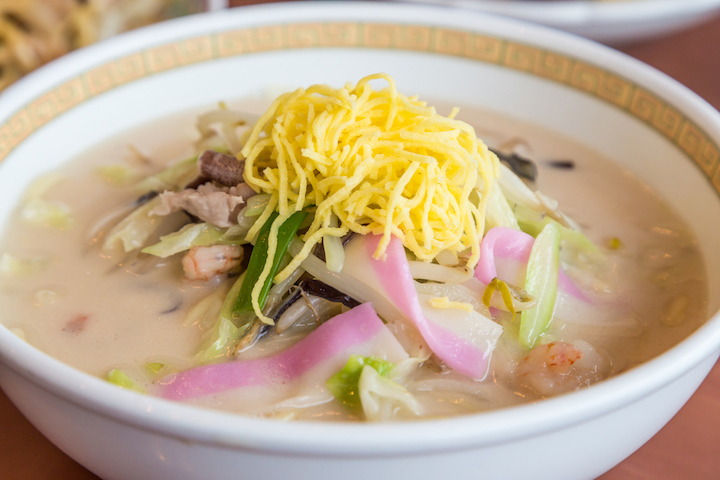 Champon is a a hearty ramen filled with fried pork slices, seafood and vegetables in a creamy lard-based broth.