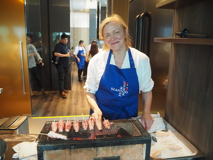 Chef Heidi Bjerkan with Norwegian shellfish at a Norwegian Seafood Council event in Singapore in July. (Photo: Kenneth Goh)