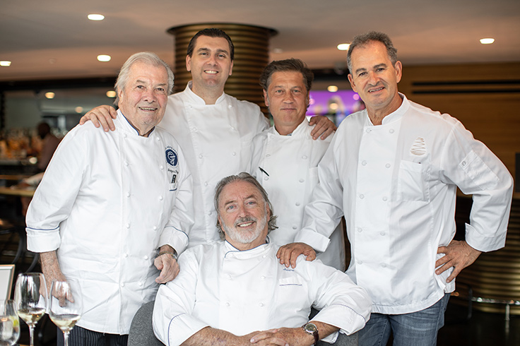 Clockwise from top left: Jacques Pépin, Sébastien Giannini, Jamie Stachowski, Larbi Dahrouch and Jimmy Sneed. (Photo by David Preta.)