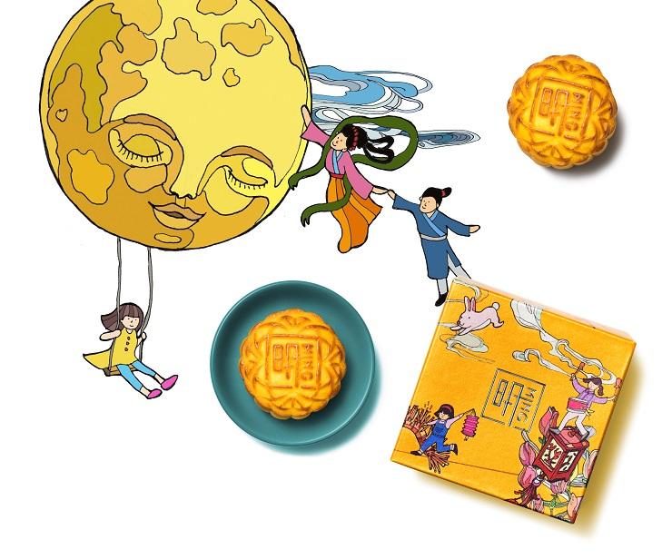 禮盒插畫由香港藝術家何博欣設計,以她兒時聽聞的中秋故事為主題。(圖片:明閣)