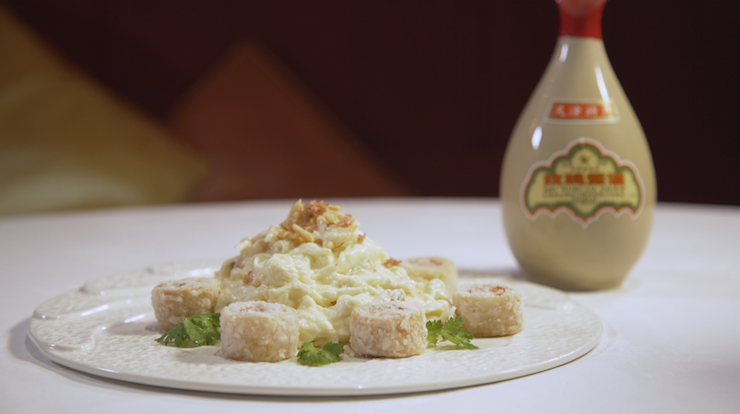 Chinese rose wine is used to make this dish of sautéed fresh milk, crab meat and egg white accompanied with deep-fried pork rolls with preserved bean curd (Pic: MICHELIN Guide Digital)