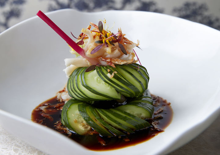 Hundred-ring Cucumber And Poached Sea Whelk with Soy Sauce Vinaigrette. (Photo: Raffles Hotel Singapore)