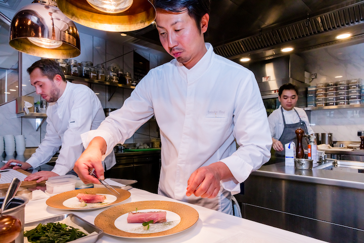 Chef Daisuke Mori with chef Benjamin Halat of CURATE at a recent cooking collaboration in Singapore. (Photo: Resorts World Sentosa)