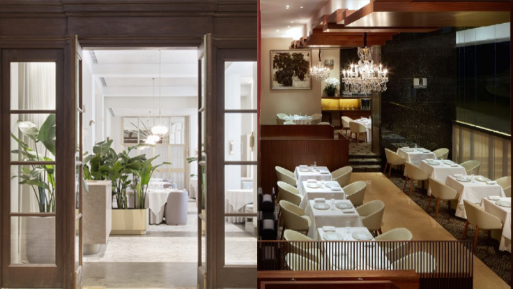 Odette (left) and Les Amis (right) enter the three-MICHELIN-starred echelon this year.