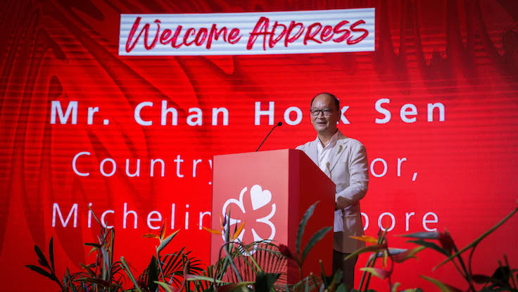 As the gala dinner commenced, the welcome address was given by Chan Hock Sen, Country Director of Michelin Singapore.