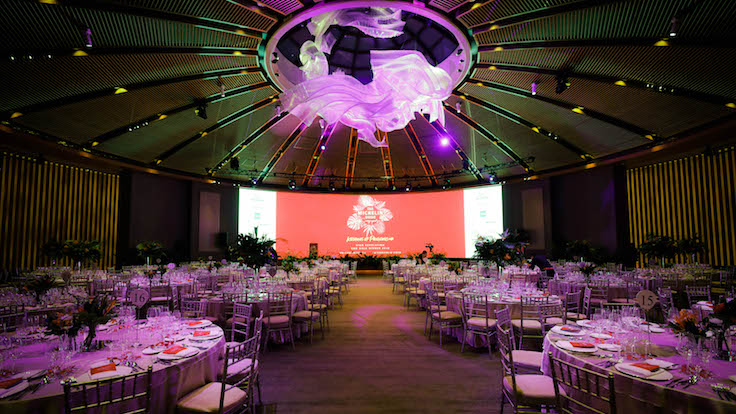 The night's events were held in the Capella Singapore ballroom, decked out to the tropical theme of the evening.