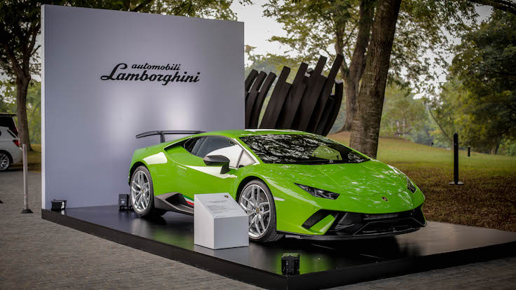 Well-heeled guests and diners arrived at the lobby of Capella Singapore to the sight of a sleek Lamborghini.