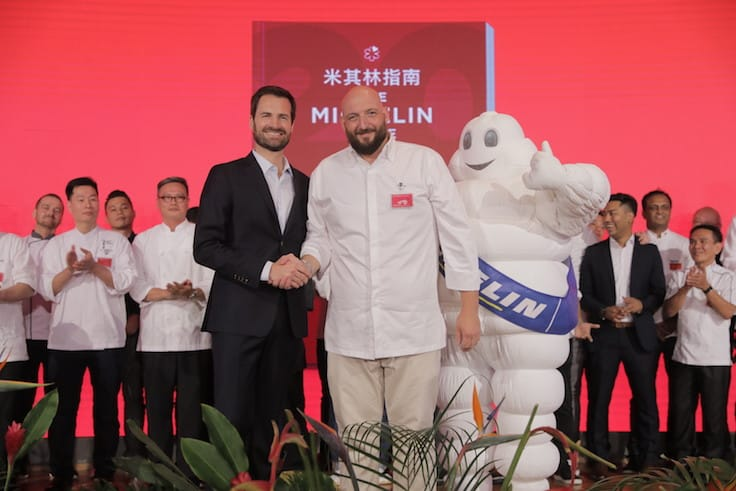 Jeremy Gillon, pictured here with International Director of the MICHELIN Guides Gwendal Poullennec at the awards ceremony (Pic: MICHELIN Guide Digital)