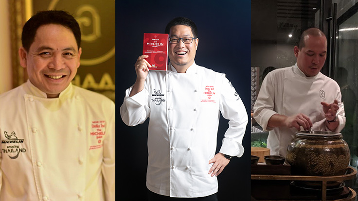 Newly promoted MICHELIN Two Stars restaurant chefs (L-R): Chef Chumpol from R-Haan, Chef Ice and Chef Yod from Sorn. Photo source: R-Haan Facebook & Colin Ho