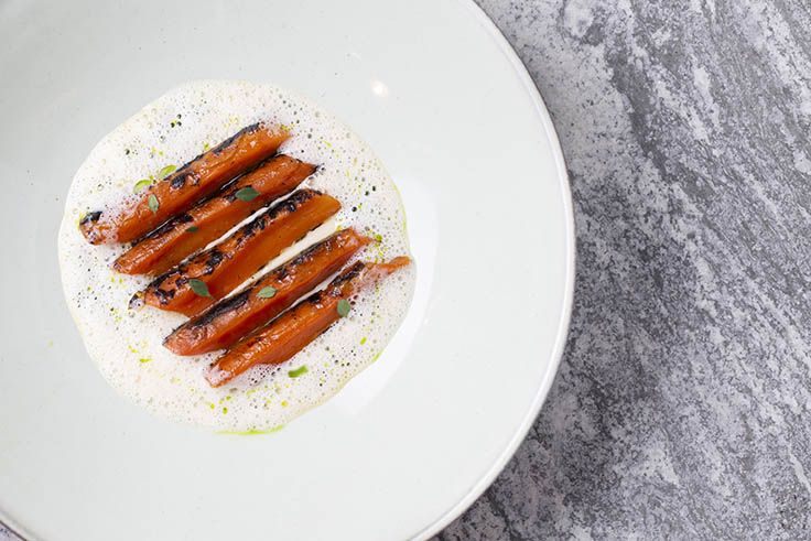 Charred carrots and razor clam chowder. (Photo by Natalie Black.)
