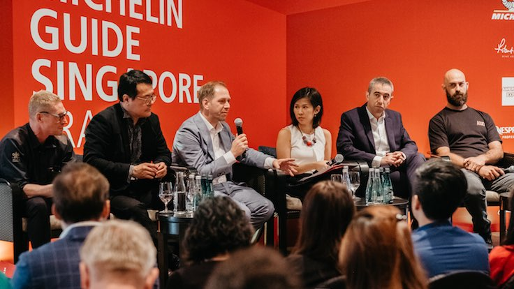 Kim Stengert, the chief of Strategic Communication and External Relations at WWF Singapore speaks on the panel at the Michelin Guide Singapore Trade Seminar 2019.