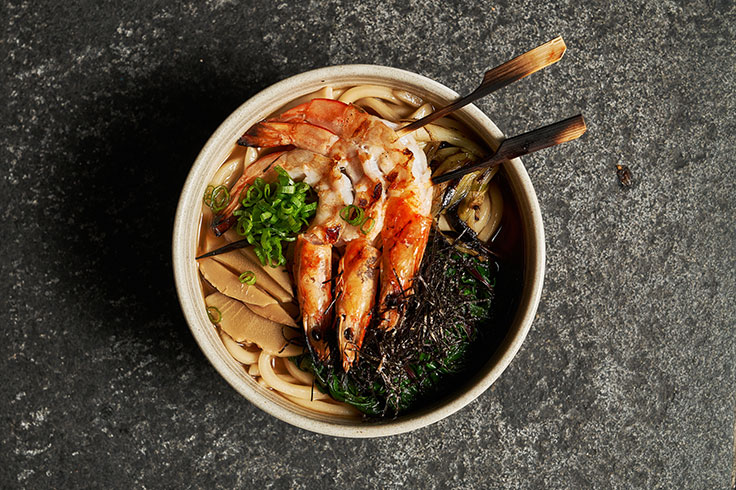 Spicy shrimp broth udon served with fried garlic and charred scallion.