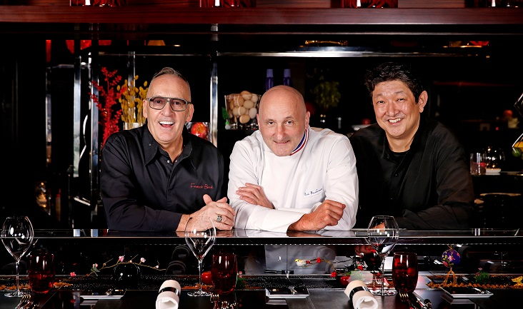 Eric Bouchenoire who heads research and development at the Joël Robuchon group; Philippe Braun and Tomonori Danzaki, the group's Chef Conseil; and François Benot, Chef Patissier Conseil from Joël Robuchon International France